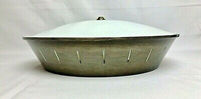 MCM Ceiling Light UFO Saucer Atomic Slits Black Gold Aluminum Flush Mount 14""