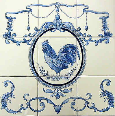 Custom Hand Painted Ceramic Kitchen Wall Backsplash Tiles Azulejos ROOSTER