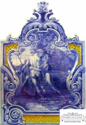 Large Cut Out Portuguese Hand Painted Ceramic Tile Art Wall Mural ROMANTIC SCENE