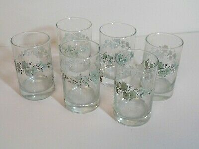 Corelle Callaway Green Ivy - 6 Juice Glasses - 6 Ounce - White Swirl - Flaws