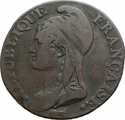 1796 FRANCE King LOUIS XVI Antique FRENCH REVOLUTION TIME 5 Centimes Coin i80285