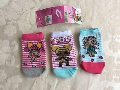 New LOL Girls 3 Pairs of Trainer Socks Primark Age 2-3 Years / Size 23-26