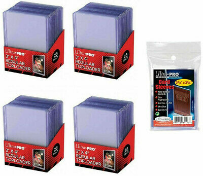 100 Ultra Pro 3 x 4 Toploaders Standard Size Top Loads + 100 Penny Soft Sleeves