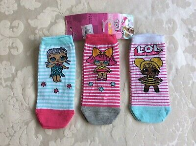 New LOL Girls 3 Pairs of Trainer Socks Primark Age 11+ Years / Size 37-38.5