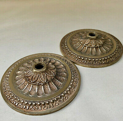 Vintage French Matching Pair Of  Cast Brass Ceiling Roses For Chandelier Light