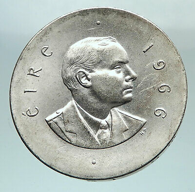 1966 IRELAND Easter Rising w PEARSE Irish Antique Silver 10 Shilling Coin i80303