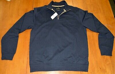 Brooks Brothers Cotton Half Zip Pullover Sweater Navy NWT $128