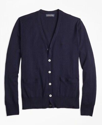 Brooks Brothers Saxxon Wool Button Front Cardigan Sweater Navy NWT $168
