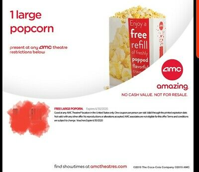 AMC Theatres - (1) One Large Popcorn AMC Movie Theater - Exp 6/2020  *E-Delivery