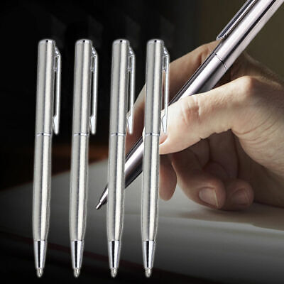 Students Stainless Steel Ball-point Pen Short Spin School Teens Supplies Of W6O7