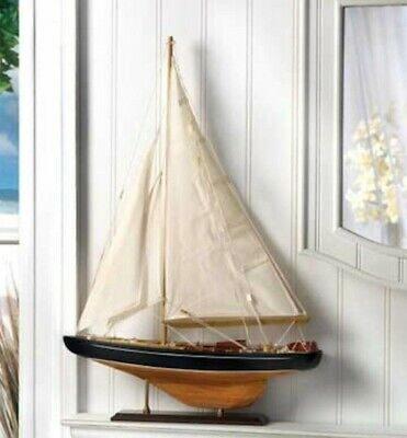 BERMUDA TALL SHIP MODEL Wooden Sailboat Coastal Nautical Decor
