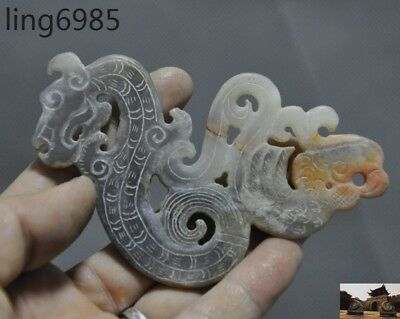 antique China Old Jade Hand carved Fengshui Dragon Phoenix bird statue sculpture