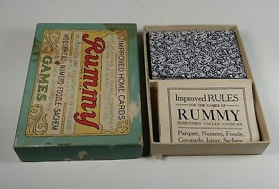Rummy Playing Cards Box Set Game #259 Deck & Rules Book Vintage Parker Brothers