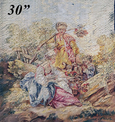 """RARE Superb Antique French Aubusson Silk Tapestry Panel, 30""""x24.5"""" Apres Boucher"""