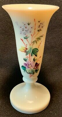 """Antique 19th c. Victorian Hand Enameled French Custard Glass Trumpet Vase - 7.5"""""""