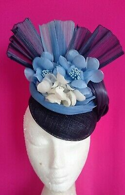Dusty Powder Light Navy Blue Ivory Flowers Hat Silk Fan Fascinator Races