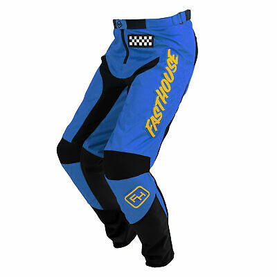 Fasthouse Grindhouse Boys Pants Moto - Blue Yellow All Sizes