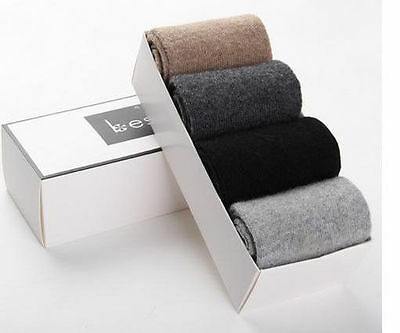 UK 8 Pairs Mens Wool Cashmere Men Socks Comfortable Warm Pure Color Gift Box