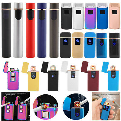 USB Electric Dual Arc Flameless Torch Rechargeable Windproof Cigarette Lighter J