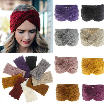 Women Ladies Winter Cross Crochet Knitted Wool Headband Hairband Earmuffs
