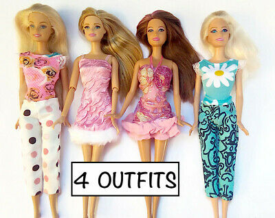 Brand new barbie doll clothes outfit princess  dress pants tops - 4 outfits.