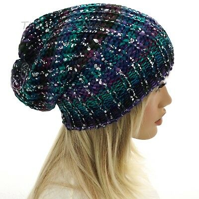 MUDD Women/'s PURPLE /& TEAL with SILVER Flake SLOUCHY HAT Winter BEANIE CAP
