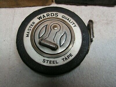 Vintage Montgomery Wards Master Quality 25' Steel Round Crank Reel Tape Measure