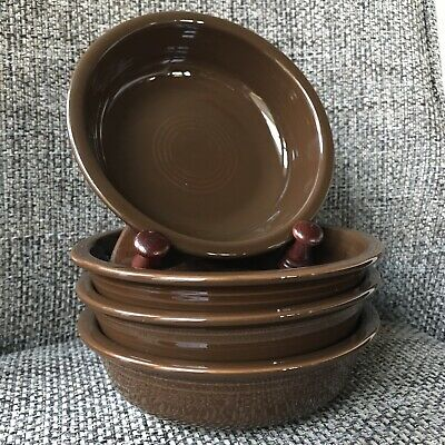 4 Fiestaware Chocolate Cereal Bowls Fiesta Retired Brown 14 oz Great Condition