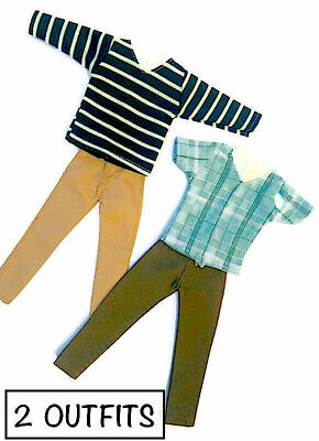 New Barbie Ken Doll outfit clothing clothes t/shirts pants - set of 2 outfits