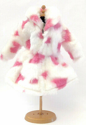 New Barbie doll clothes fur coat outfit white pink clothing winter clothes