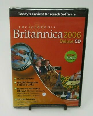 Encyclopedia Britannica 2006 Deluxe Pc Cd-Rom For Windows 2000/Xp, Sealed New