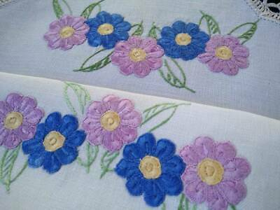 Mauve/Pink & Blue Flowers~ Large Hand Embroidered Centrepiece/mat