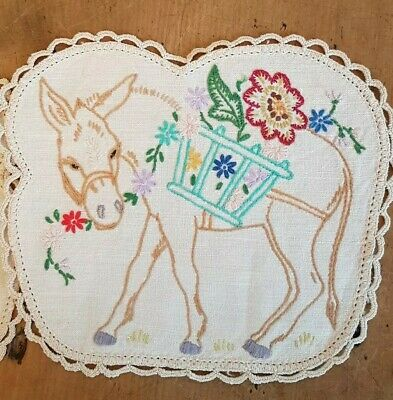 2 Mexican Donkey's  WITH CART OF FLOWERS  ~ Vintage Hand embroidered  DOILIES
