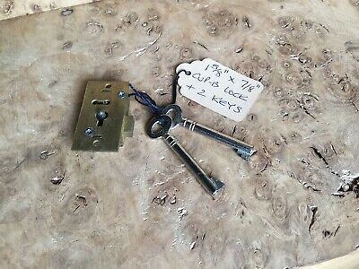 "Vintage Solid Brass Cupboard Lock 1 5/8"" X 7/8"" Secure Two Lever With Two Keys"