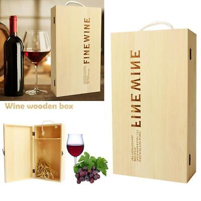 Vintage Red Wine Box Portable Pine Wood Wine Storage Box Wine Bottle Case Gift