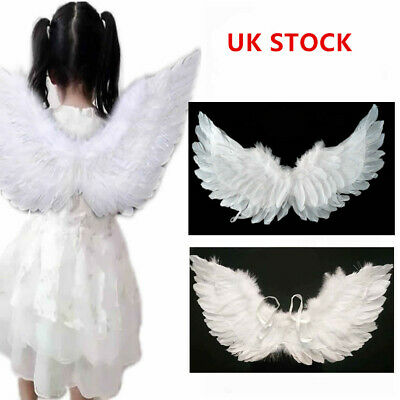 UK Fairy Angel Wing Christmas Halloween Costume Fancy Dress Up White Feather