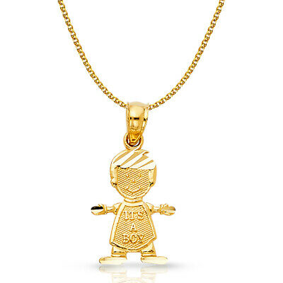 14K Yellow Gold It's a Boy Charm Pendant & 1.2mm Flat Open Wheat Chain Necklace