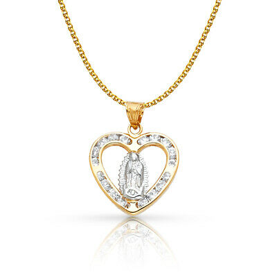 14K Yellow Gold Guadalupe CZ Charm Pendant &1.2mm Flat Open Wheat Chain Necklace