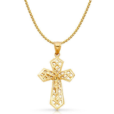14K Yellow Gold Crucifix Charm Pendant with 2mm Flat Open Wheat Chain Necklace