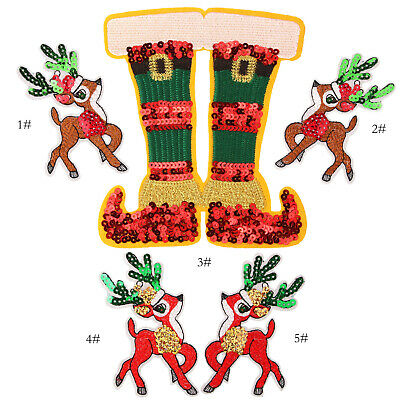 Sequin Christmas Badge Patch Applique Embroidered Iron Sew on Jean Craft DIY
