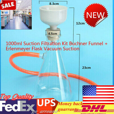 1000ml For Lab Filtration Equipment Suction Filter Set Buchner Funnel Vacuum USA