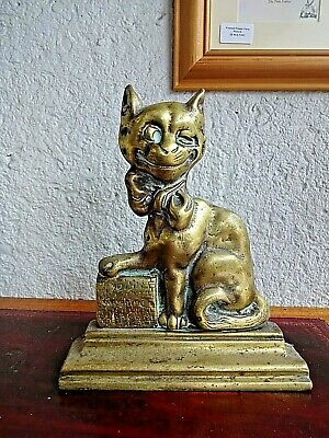 Whacky Antique Solid Brass Cheshire Cat Door Stop 2.8kg Alice in Wonderland