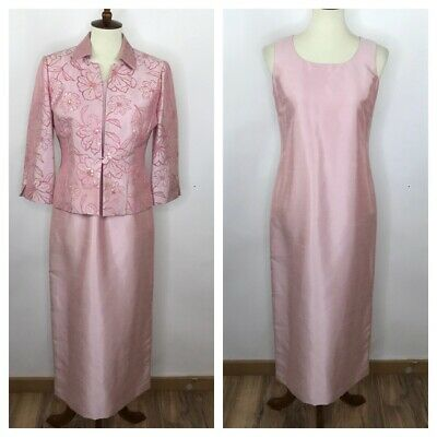 Jessica Howard Pink 2pc Long Gown Sequin Beaded Jacket Mother of the Bride Sz 6P