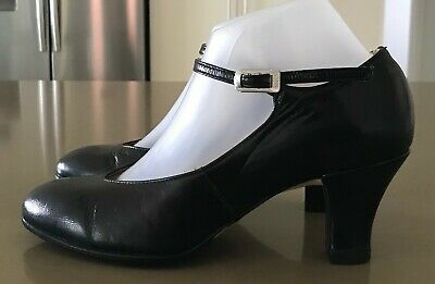 Girls Size 8 BLOCH Black Leather Ankle Strap 76mm Heel Chorus Dance Shoes