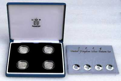 2004 Solid Silver 4 Coin Proof One Pound Coin Set with Case & COA.
