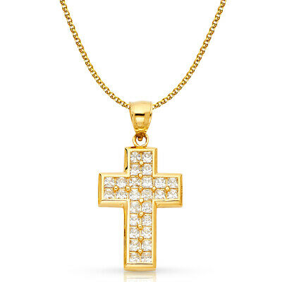 14K Yellow Gold CZ Cross Charm Pendant & 1.7mm Flat Open Wheat Chain Necklace