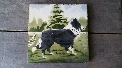 Antique Old Vintage Ceramic Large Tile Hand Painted Border Collie Dog