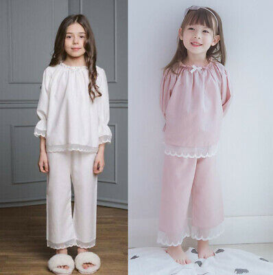 Kids Girls Satin Ruffle Pyjamas Silk Pajamas Long sleeve Nightwear Sleepwear