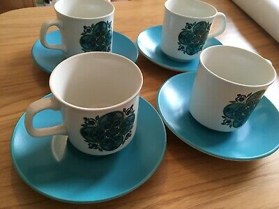 4 x Vintage J & G Meakin Impact Coffee Cup and Saucers VGC 1970s