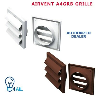 """/& Brown Grille 4/"""" 100mm Duct Tube Wall Mounting Kit for Extractor Fan 35cm"""